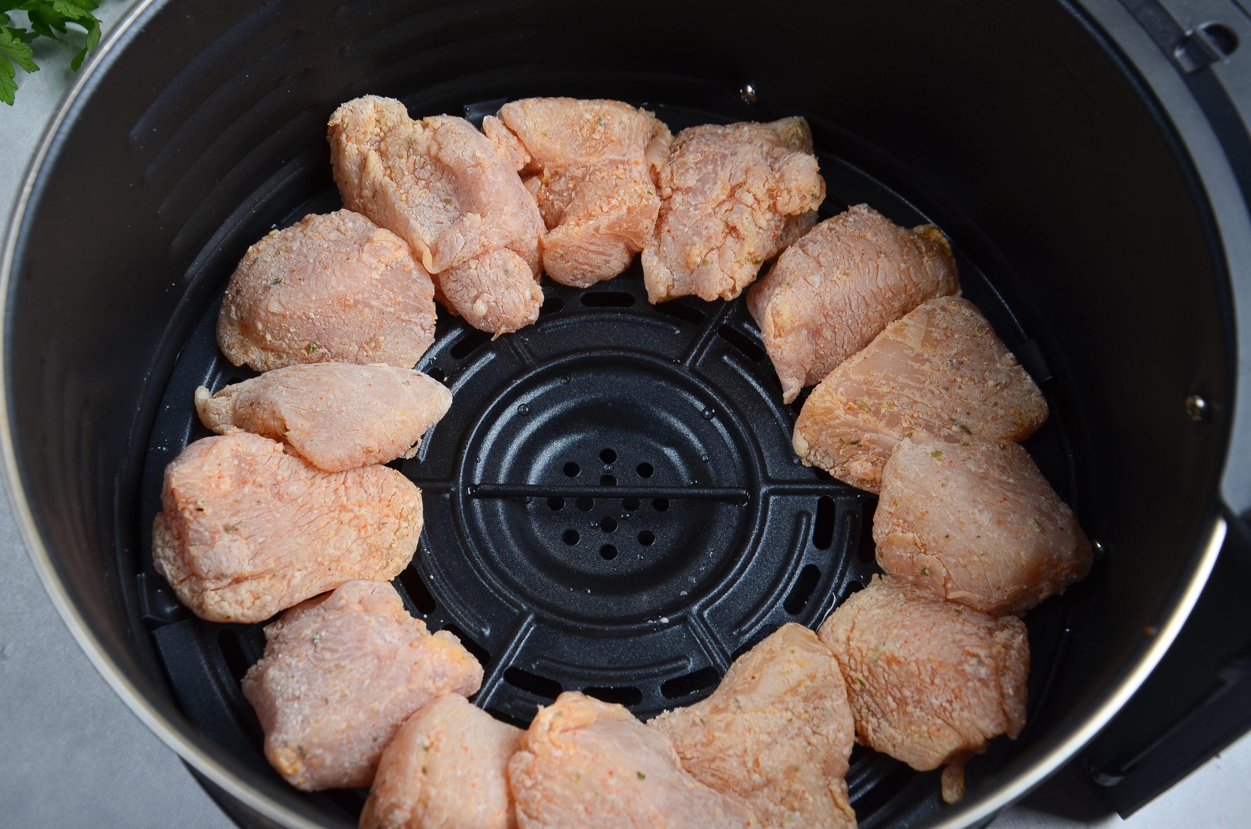 Chicken fillet pieces in an air fryer